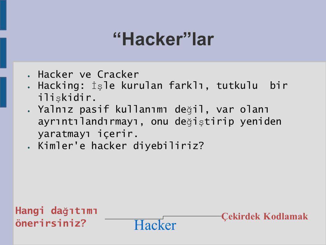 Hacker lar ● Hacker ve Cracker ● Hacking: İş le kurulan farklı, tutkulu bir ili ş kidir.