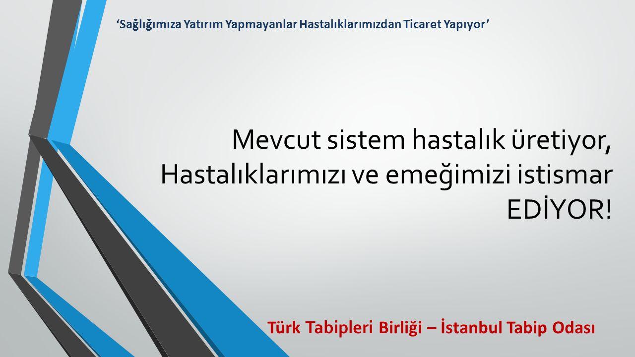 Mevcut sistem hastalık üretiyor, Hastalıklarımızı ve emeğimizi istismar EDİYOR! Türk Tabipleri Birliği – İstanbul Tabip Odası 'Sağlığımıza Yatırım Yap