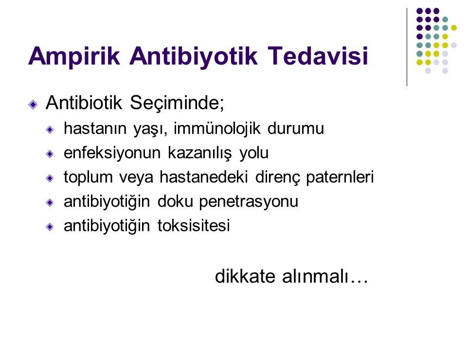 Ampirik Antibiyotik Tedavisi Antibiotik Seçiminde; hastanın yaşı, immünolojik durumu enfeksiyonun kazanılış yolu toplum veya hastanedeki direnç paternleri antibiyotiğin doku penetrasyonu antibiyotiğin toksisitesi dikkate alınmalı…
