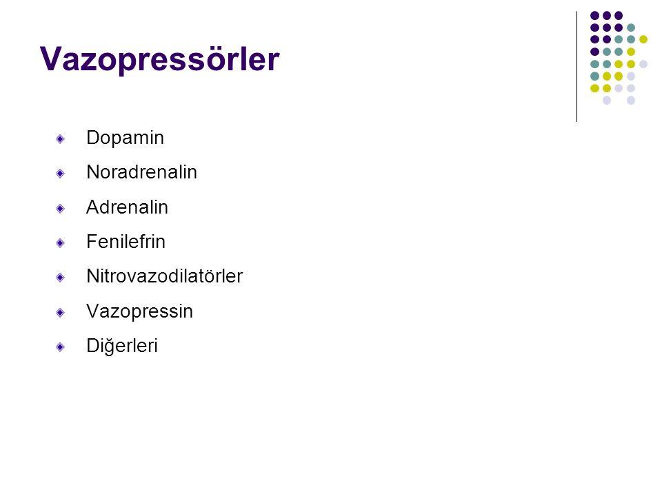 Vazopressörler Dopamin Noradrenalin Adrenalin Fenilefrin Nitrovazodilatörler Vazopressin Diğerleri