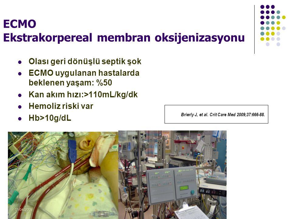 ECMO Ekstrakorpereal membran oksijenizasyonu Olası geri dönüşlü septik şok ECMO uygulanan hastalarda beklenen yaşam: %50 Kan akım hızı:>110mL/kg/dk Hemoliz riski var Hb>10g/dL Brierly J, et al.