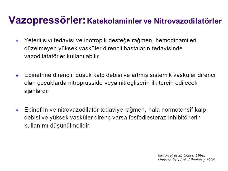 Vazopressörler: Katekolaminler ve Nitrovazodilatörler Yeterli sıvı tedavisi ve inotropik desteğe rağmen, hemodinamileri düzelmeyen yüksek vasküler dirençli hastaların tedavisinde vazodilatatörler kullanılabilir.
