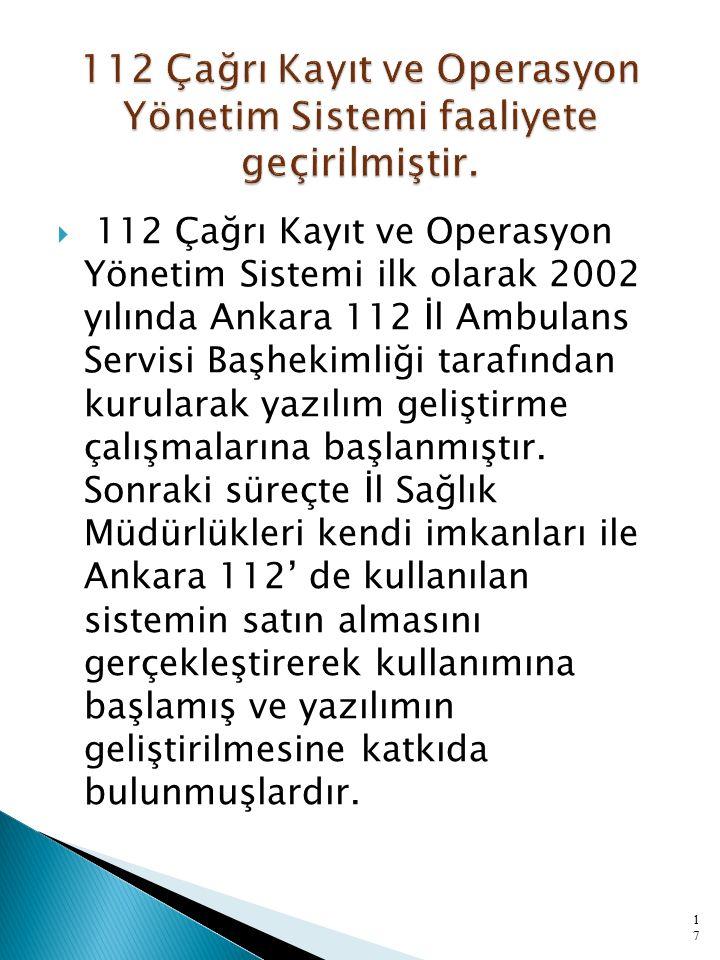  112 Çağrı Kayıt ve Operasyon Yönetim Sistemi ilk olarak 2002 yılında Ankara 112 İl Ambulans Servisi Başhekimliği tarafından kurularak yazılım geliştirme çalışmalarına başlanmıştır.