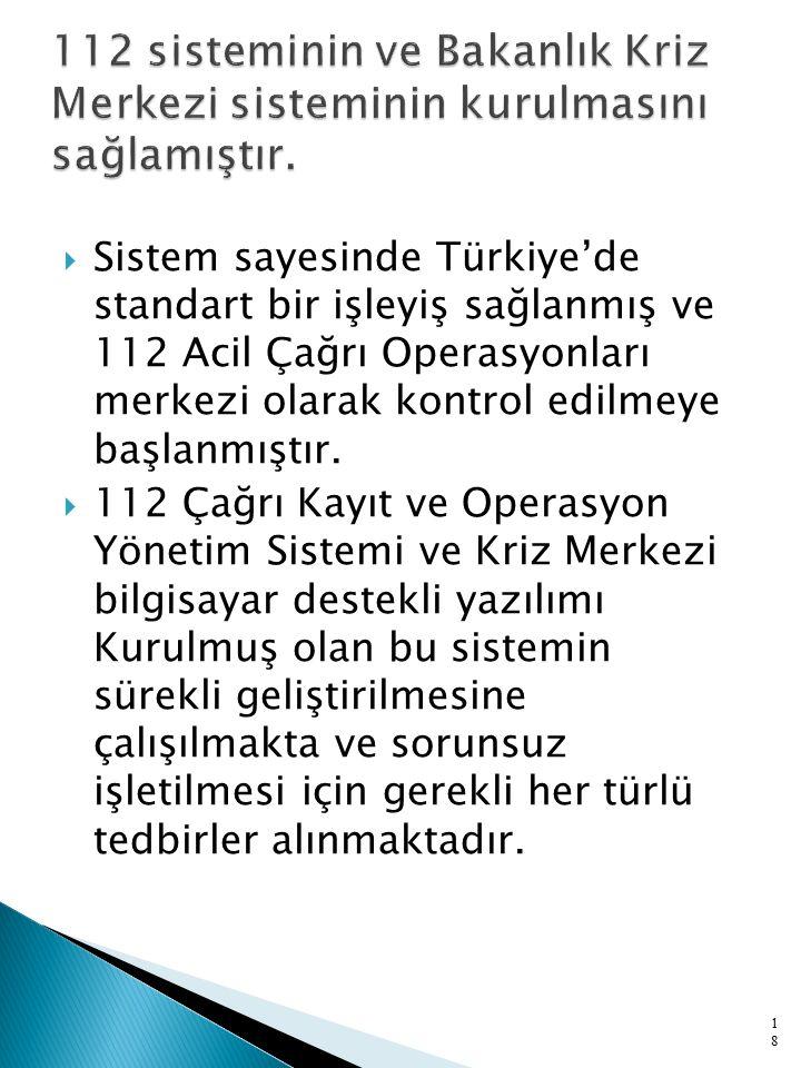  Sistem sayesinde Türkiye'de standart bir işleyiş sağlanmış ve 112 Acil Çağrı Operasyonları merkezi olarak kontrol edilmeye başlanmıştır.  112 Çağrı