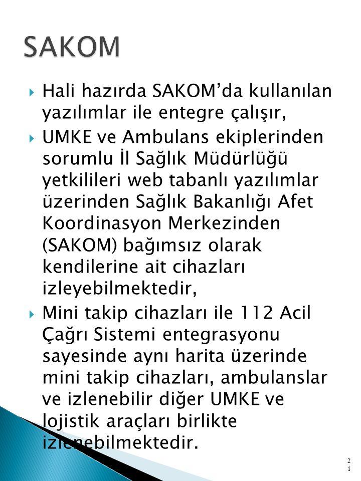  Hali hazırda SAKOM'da kullanılan yazılımlar ile entegre çalışır,  UMKE ve Ambulans ekiplerinden sorumlu İl Sağlık Müdürlüğü yetkilileri web tabanlı yazılımlar üzerinden Sağlık Bakanlığı Afet Koordinasyon Merkezinden (SAKOM) bağımsız olarak kendilerine ait cihazları izleyebilmektedir,  Mini takip cihazları ile 112 Acil Çağrı Sistemi entegrasyonu sayesinde aynı harita üzerinde mini takip cihazları, ambulanslar ve izlenebilir diğer UMKE ve lojistik araçları birlikte izlenebilmektedir.
