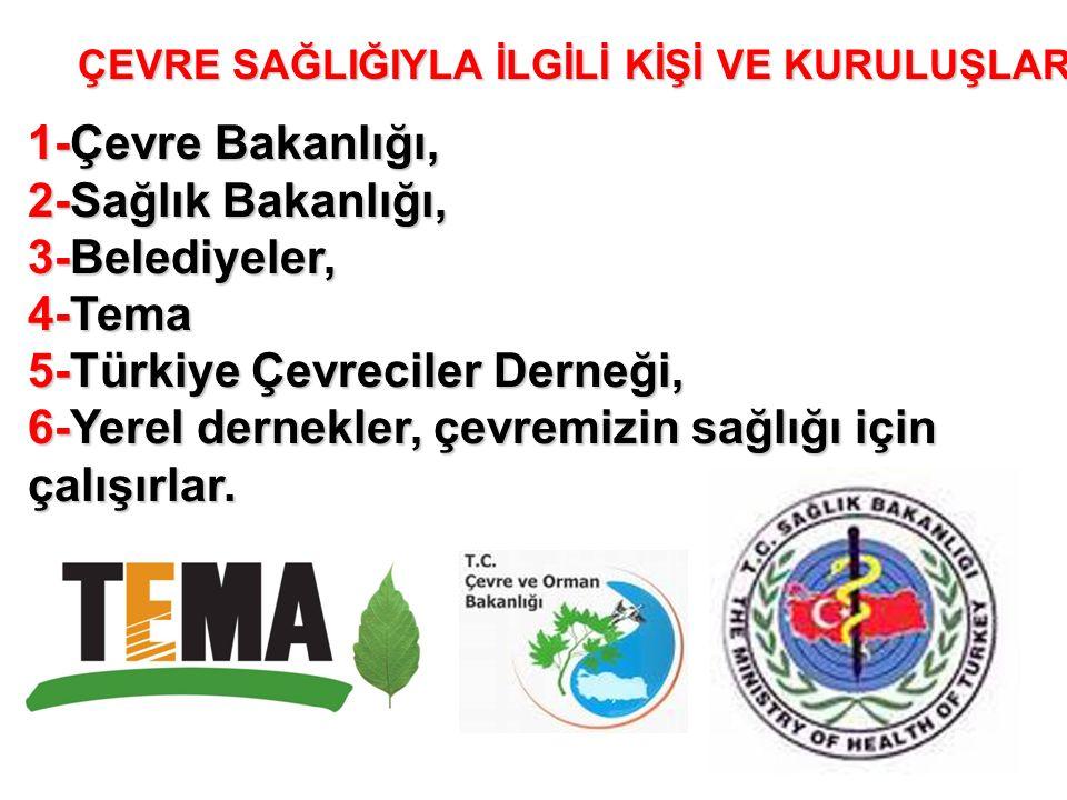 ÇEVRE SAĞLIĞIYLA İLGİLİ KİŞİ VE KURULUŞLAR 1-Çevre Bakanlığı, 2-Sağlık Bakanlığı, 3-Belediyeler, 4-Tema 5-Türkiye Çevreciler Derneği, 6-Yerel dernekler, çevremizin sağlığı için çalışırlar.