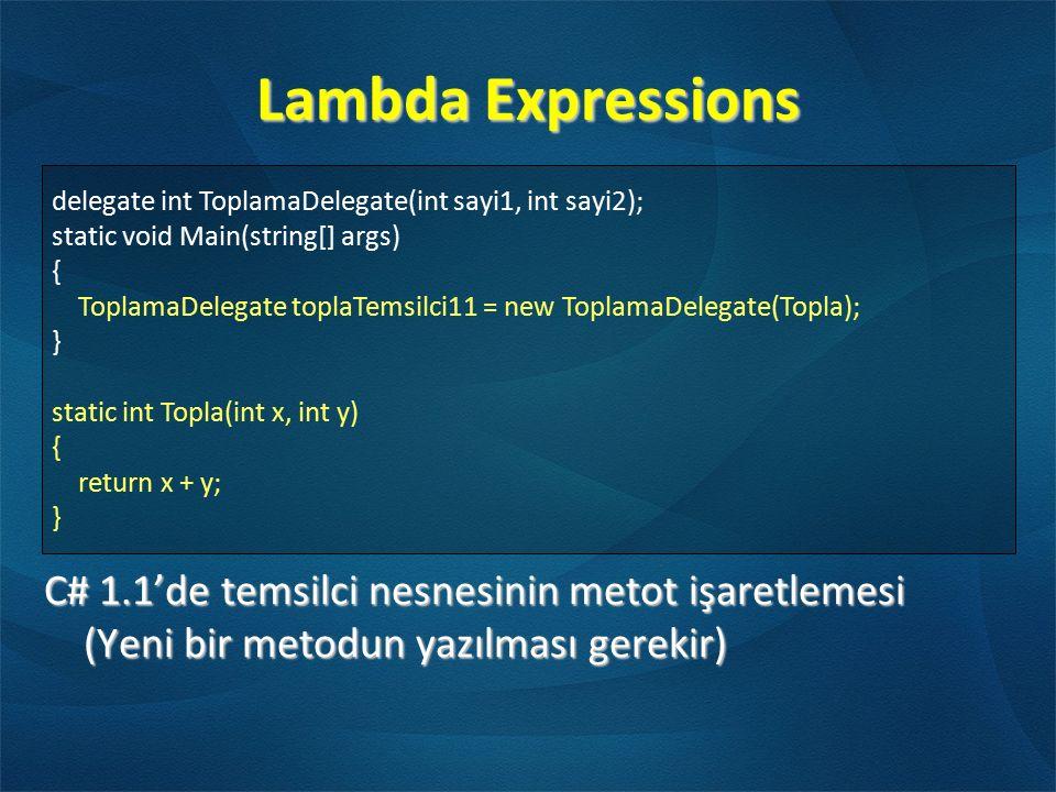 Lambda Expressions C# 1.1'de temsilci nesnesinin metot işaretlemesi (Yeni bir metodun yazılması gerekir) delegate int ToplamaDelegate(int sayi1, int s