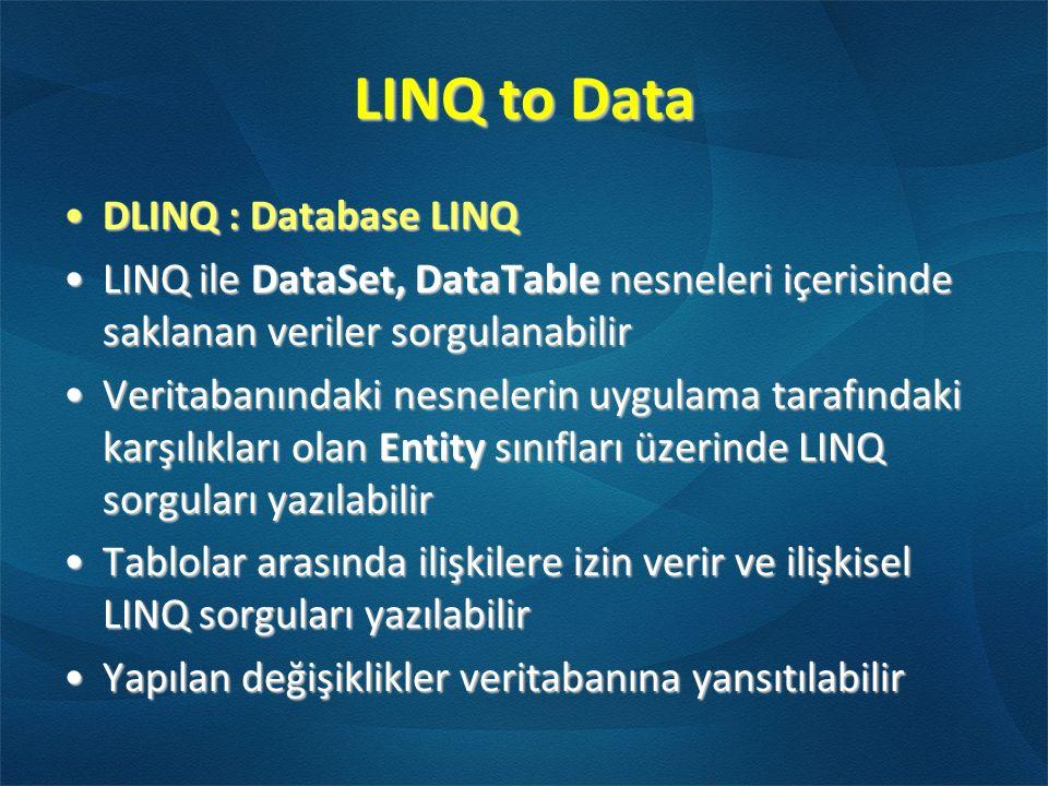 LINQ to Data DLINQ : Database LINQDLINQ : Database LINQ LINQ ile DataSet, DataTable nesneleri içerisinde saklanan veriler sorgulanabilirLINQ ile DataS