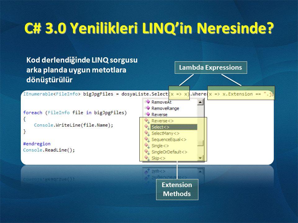 C# 3.0 Yenilikleri LINQ'in Neresinde? Extension Methods Lambda Expressions Kod derlendiğinde LINQ sorgusu arka planda uygun metotlara dönüştürülür