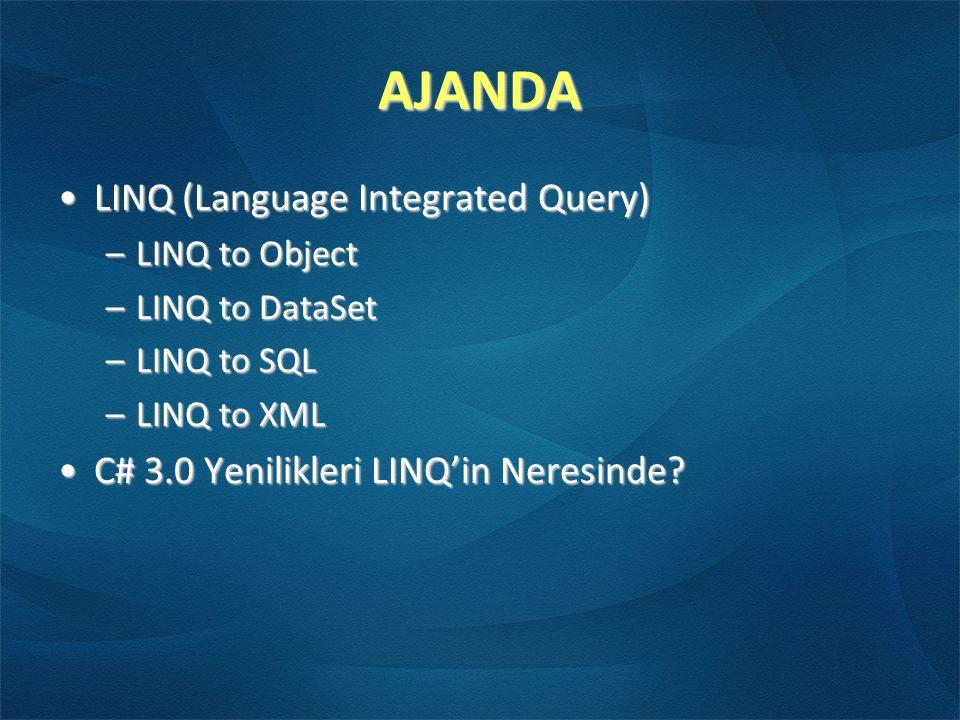 AJANDA LINQ (Language Integrated Query)LINQ (Language Integrated Query) –LINQ to Object –LINQ to DataSet –LINQ to SQL –LINQ to XML C# 3.0 Yenilikleri LINQ'in Neresinde?C# 3.0 Yenilikleri LINQ'in Neresinde?