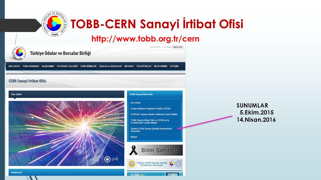 TOBB-CERN Sanayi İrtibat Ofisi http://www.tobb.org.tr/cern SUNUMLAR 5.Ekim.2015 14.Nisan.2016