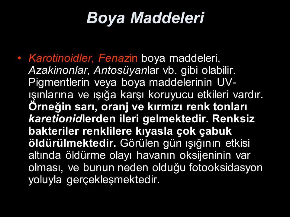 Boya Maddeleri Karotinoidler, Fenazin boya maddeleri, Azakinonlar, Antosüyanlar vb.