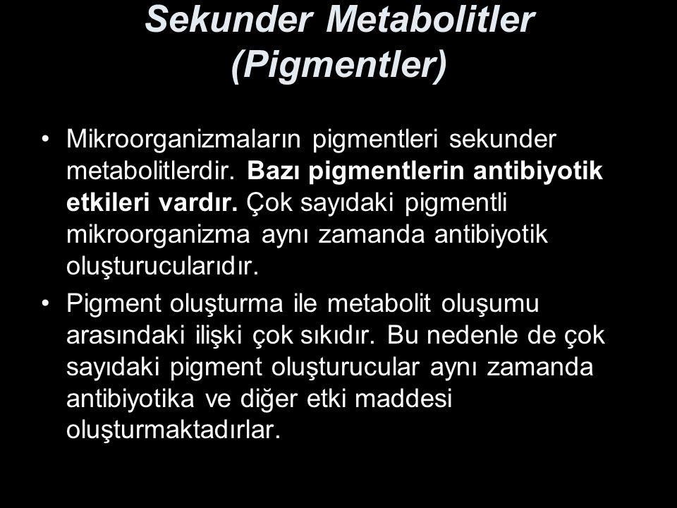 Sekunder Metabolitler (Pigmentler) Mikroorganizmaların pigmentleri sekunder metabolitlerdir. Bazı pigmentlerin antibiyotik etkileri vardır. Çok sayıda
