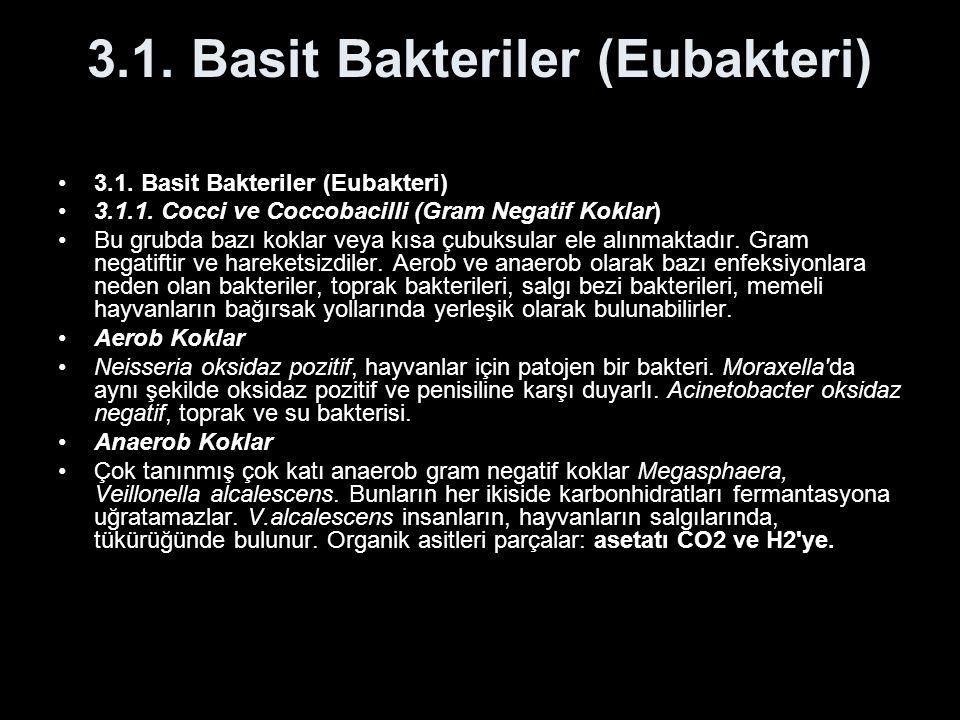 3.1. Basit Bakteriler (Eubakteri) 3.1.1.