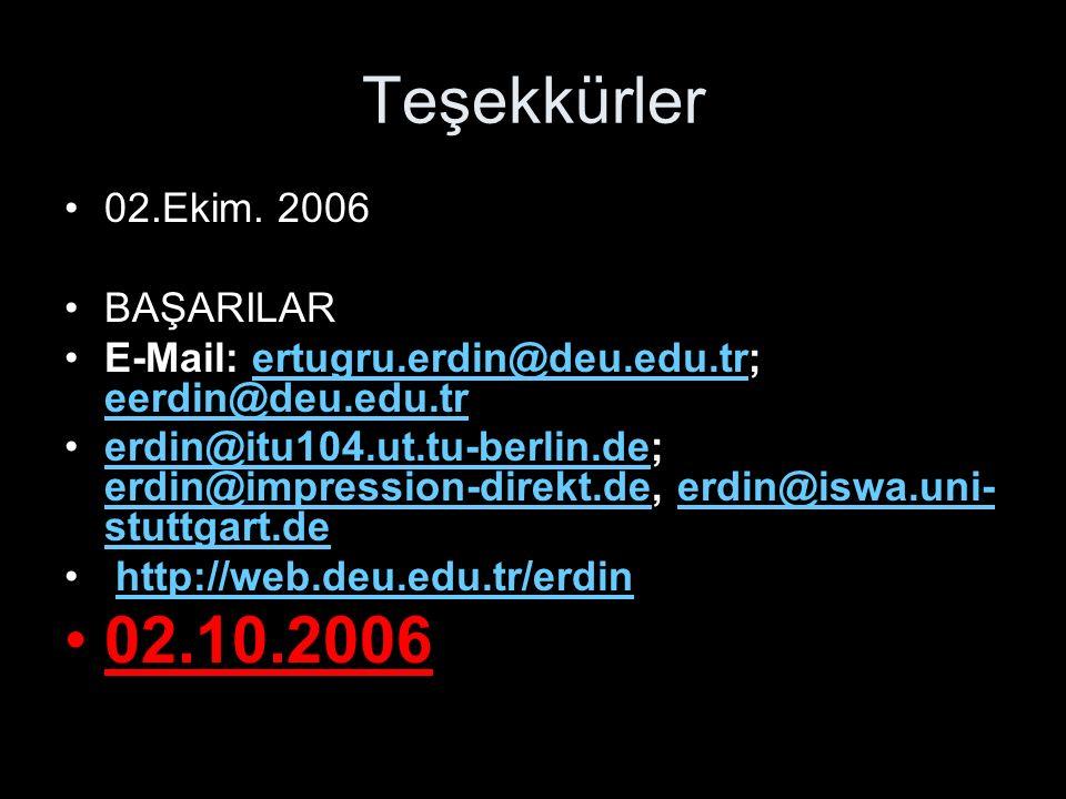 Teşekkürler 02.Ekim. 2006 BAŞARILAR E-Mail: ertugru.erdin@deu.edu.tr; eerdin@deu.edu.trertugru.erdin@deu.edu.tr eerdin@deu.edu.tr erdin@itu104.ut.tu-b