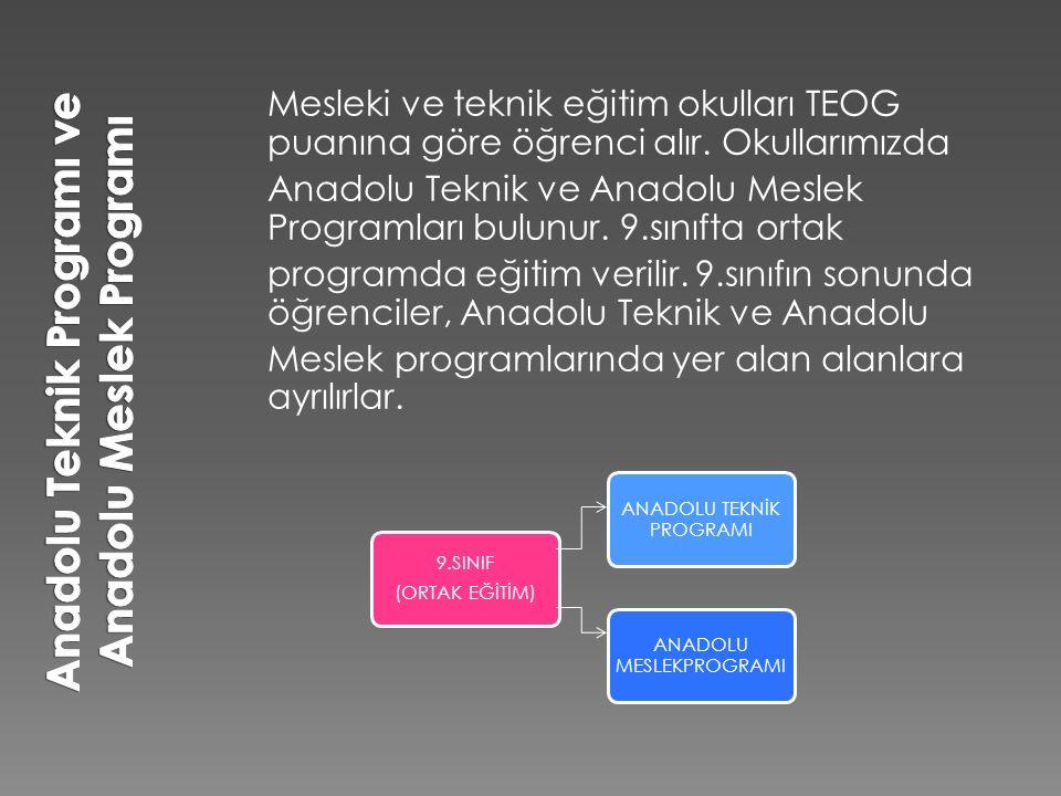 Mesleki ve teknik eğitim okulları TEOG puanına göre öğrenci alır. Okullarımızda Anadolu Teknik ve Anadolu Meslek Programları bulunur. 9.sınıfta ortak
