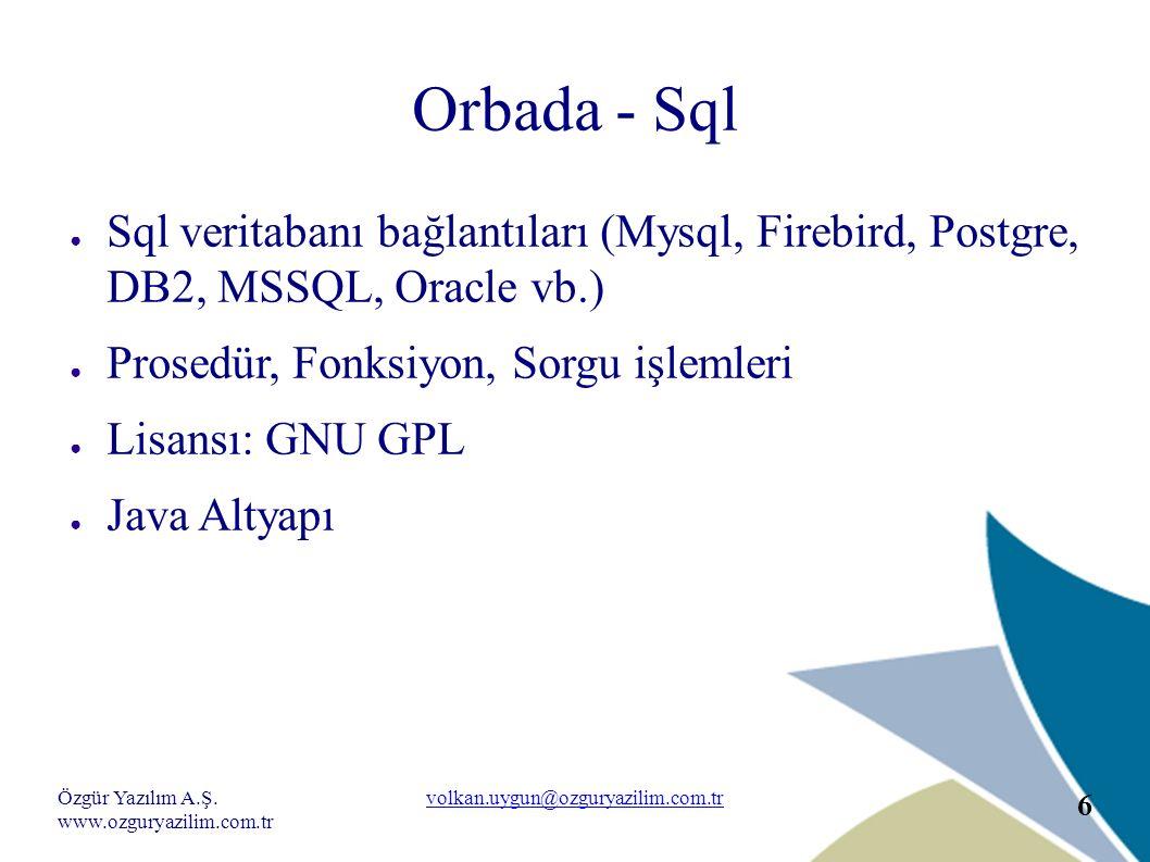 Özgür Yazılım A.Ş. www.ozguryazilim.com.tr volkan.uygun@ozguryazilim.com.tr 6 Orbada - Sql ● Sql veritabanı bağlantıları (Mysql, Firebird, Postgre, DB