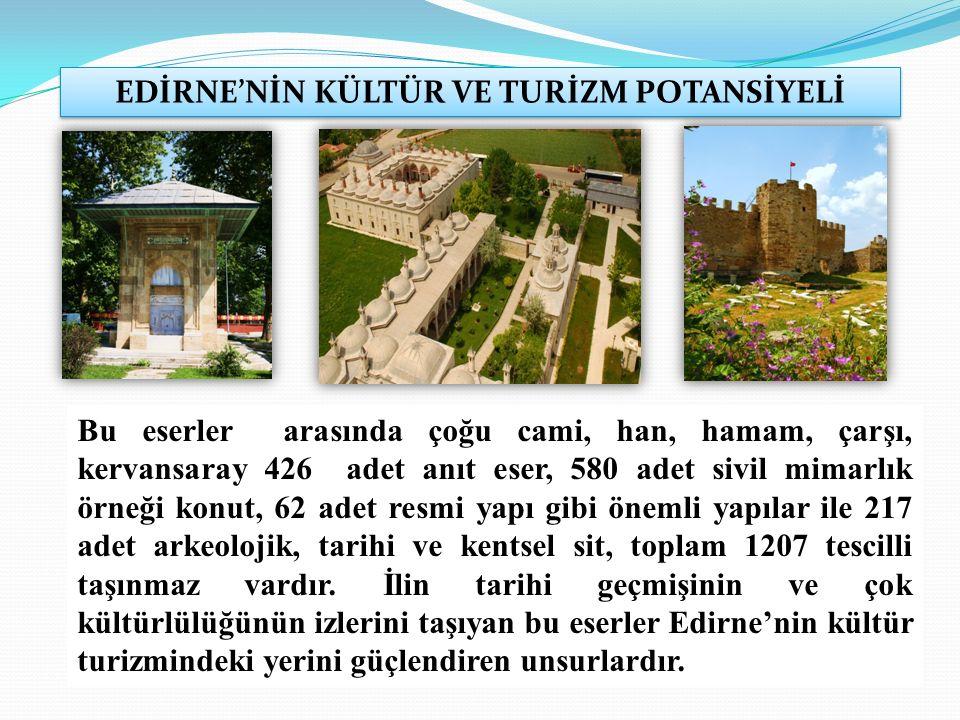 EDİRNE'NİN KÜLTÜR VE TURİZM POTANSİYELİ Bu eserler arasında çoğu cami, han, hamam, çarşı, kervansaray 426 adet anıt eser, 580 adet sivil mimarlık örneği konut, 62 adet resmi yapı gibi önemli yapılar ile 217 adet arkeolojik, tarihi ve kentsel sit, toplam 1207 tescilli taşınmaz vardır.