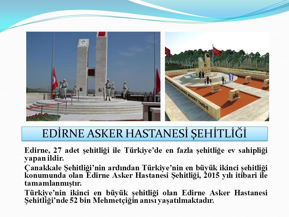 EDİRNE ASKER HASTANESİ ŞEHİTLİĞİ Edirne, 27 adet şehitliği ile Türkiye'de en fazla şehitliğe ev sahipliği yapan ildir.