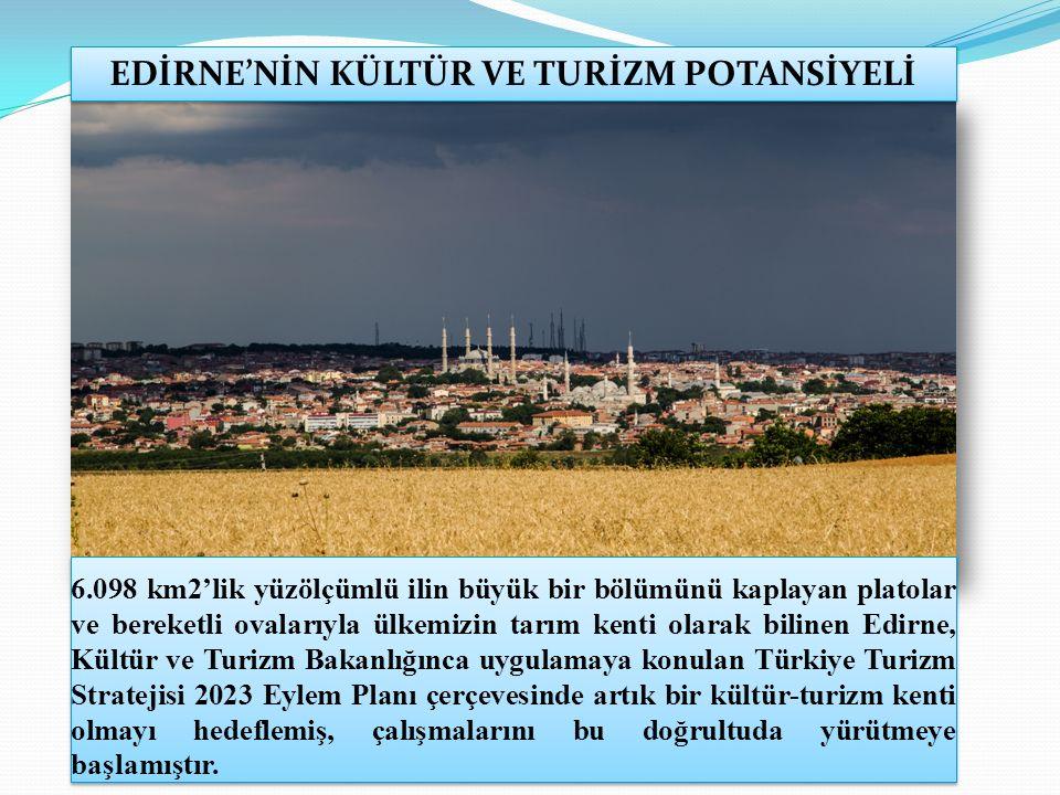6.098 km2'lik yüzölçümlü ilin büyük bir bölümünü kaplayan platolar ve bereketli ovalarıyla ülkemizin tarım kenti olarak bilinen Edirne, Kültür ve Turizm Bakanlığınca uygulamaya konulan Türkiye Turizm Stratejisi 2023 Eylem Planı çerçevesinde artık bir kültür-turizm kenti olmayı hedeflemiş, çalışmalarını bu doğrultuda yürütmeye başlamıştır.