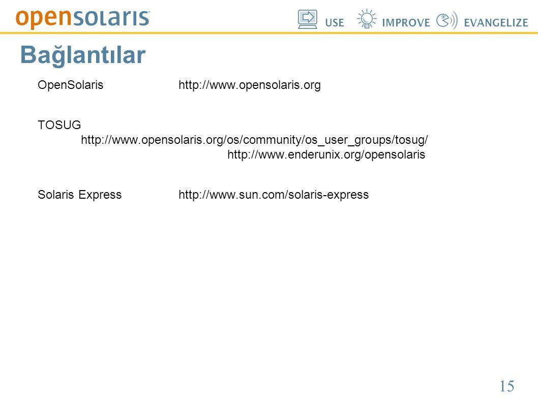 15 USEIMPROVEEVANGELIZE Bağlantılar OpenSolarishttp://www.opensolaris.org TOSUG http://www.opensolaris.org/os/community/os_user_groups/tosug/ http://w