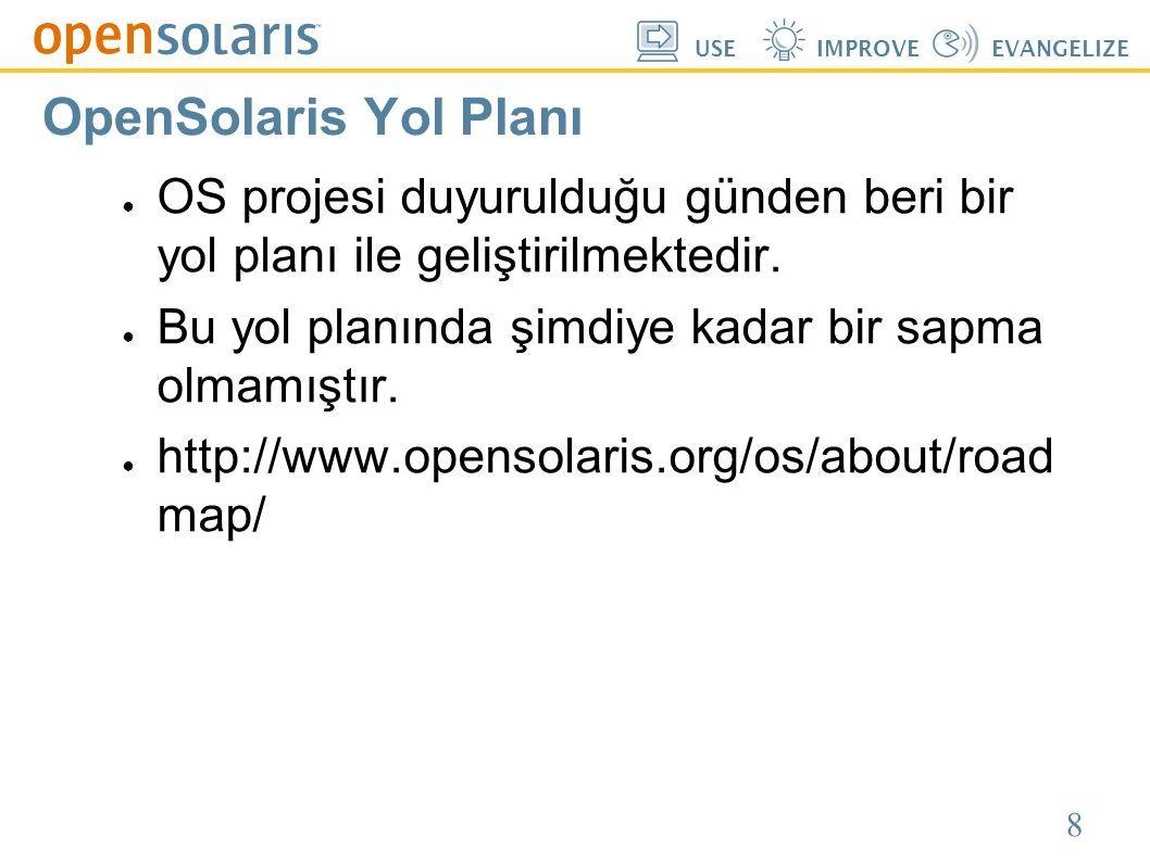 8 USEIMPROVEEVANGELIZE OpenSolaris Yol Planı ● OS projesi duyurulduğu günden beri bir yol planı ile geliştirilmektedir. ● Bu yol planında şimdiye kada