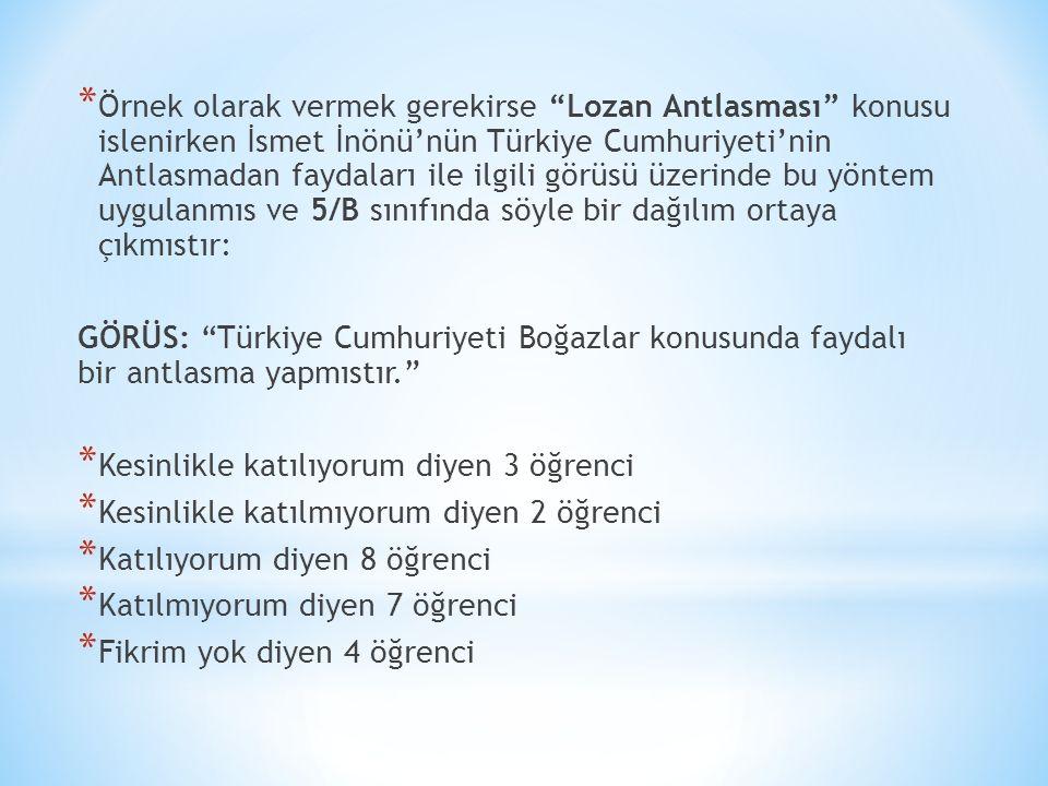 """* Örnek olarak vermek gerekirse """"Lozan Antlasması"""" konusu islenirken İsmet İnönü'nün Türkiye Cumhuriyeti'nin Antlasmadan faydaları ile ilgili görüsü ü"""