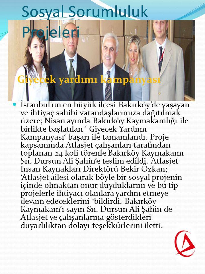 Sosyal Sorumluluk Projeleri İstanbul'un en büyük ilçesi Bakırköy'de yaşayan ve ihtiyaç sahibi vatandaşlarımıza dağıtılmak üzere; Nisan ayında Bakırköy Kaymakamlığı ile birlikte başlatılan ' Giyecek Yardımı Kampanyası' başarı ile tamamlandı.