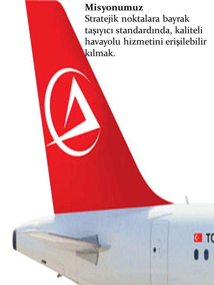 Misyonumuz Stratejik noktalara bayrak taşıyıcı standardında, kaliteli havayolu hizmetini erişilebilir kılmak.