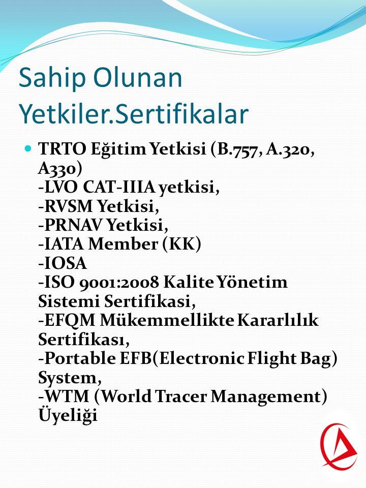 Sahip Olunan Yetkiler.Sertifikalar TRTO Eğitim Yetkisi (B.757, A.320, A330) -LVO CAT-IIIA yetkisi, -RVSM Yetkisi, -PRNAV Yetkisi, -IATA Member (KK) -IOSA -ISO 9001:2008 Kalite Yönetim Sistemi Sertifikasi, -EFQM Mükemmellikte Kararlılık Sertifikası, -Portable EFB(Electronic Flight Bag) System, -WTM (World Tracer Management) Üyeliği