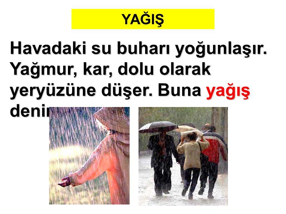 YAĞIŞ Havadaki su buharı yoğunlaşır. Yağmur, kar, dolu olarak yeryüzüne düşer. Buna yağış denir.
