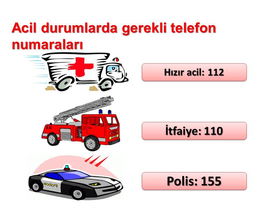 Acil durumlarda gerekli telefon numaraları Hızır acil: 112 İtfaiye: 110 Polis: 155