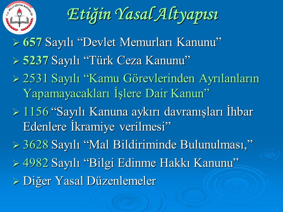""" 657 Sayılı """"Devlet Memurları Kanunu""""  5237 Sayılı """"Türk Ceza Kanunu""""  2531 Sayılı """"Kamu Görevlerinden Ayrılanların Yapamayacakları İşlere Dair Kan"""