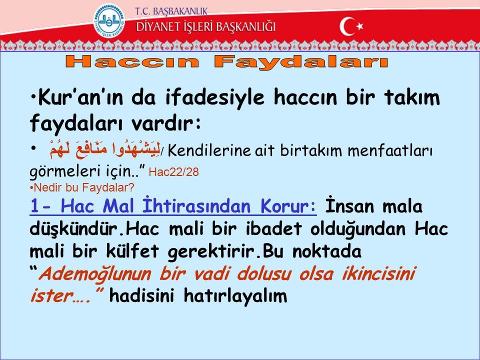 """Kur'an'ın da ifadesiyle haccın bir takım faydaları vardır: لِيَشْهَدُوا مَنَافِعَ لَهُمْ / Kendilerine ait birtakım menfaatları görmeleri için.."""" Hac2"""