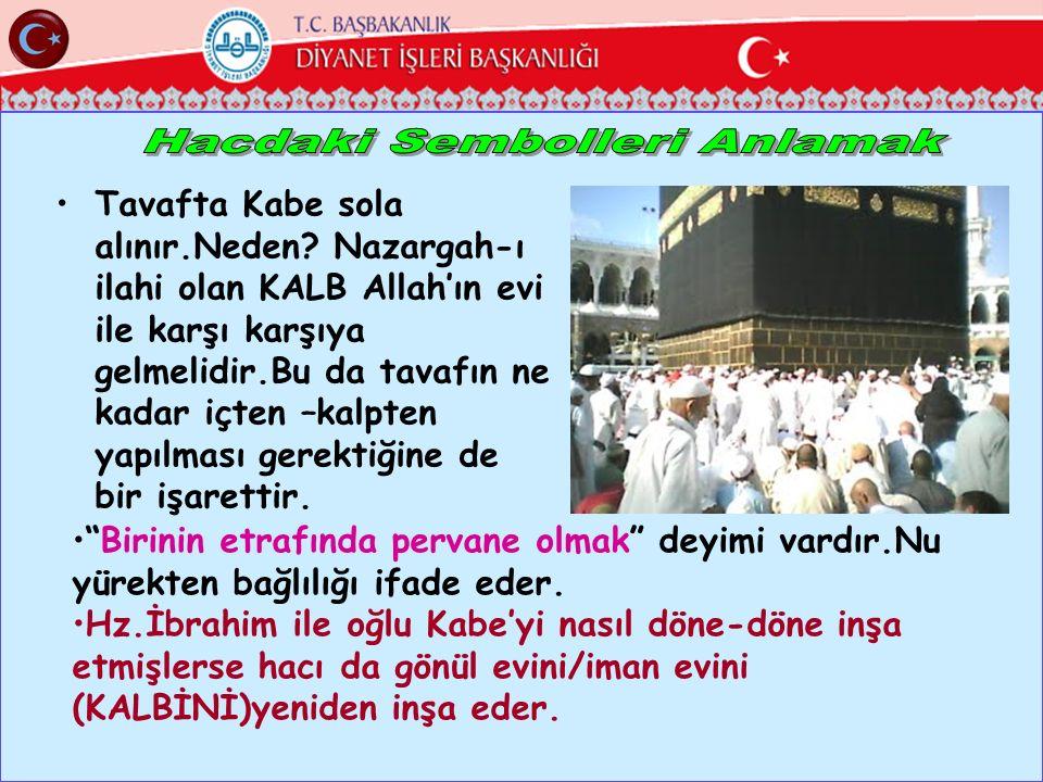 Tavafta Kabe sola alınır.Neden? Nazargah-ı ilahi olan KALB Allah'ın evi ile karşı karşıya gelmelidir.Bu da tavafın ne kadar içten –kalpten yapılması g
