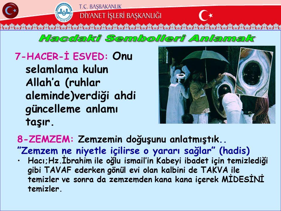 """7-HACER-İ ESVED: Onu selamlama kulun Allah'a (ruhlar aleminde)verdiği ahdi güncelleme anlamı taşır. 8-ZEMZEM: Zemzemin doğuşunu anlatmıştık.. """"Zemzem"""