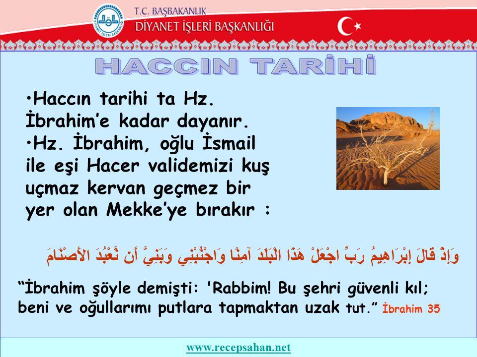 Mekke'de ne bir ev ne de bir kimse vardı.İbrahim (as) yanlarına biraz su ve hurma bırakarak Şam'a geri dönecekken eşi Hacer O'na : -Bizi kime bırakıp gidiyorsun .