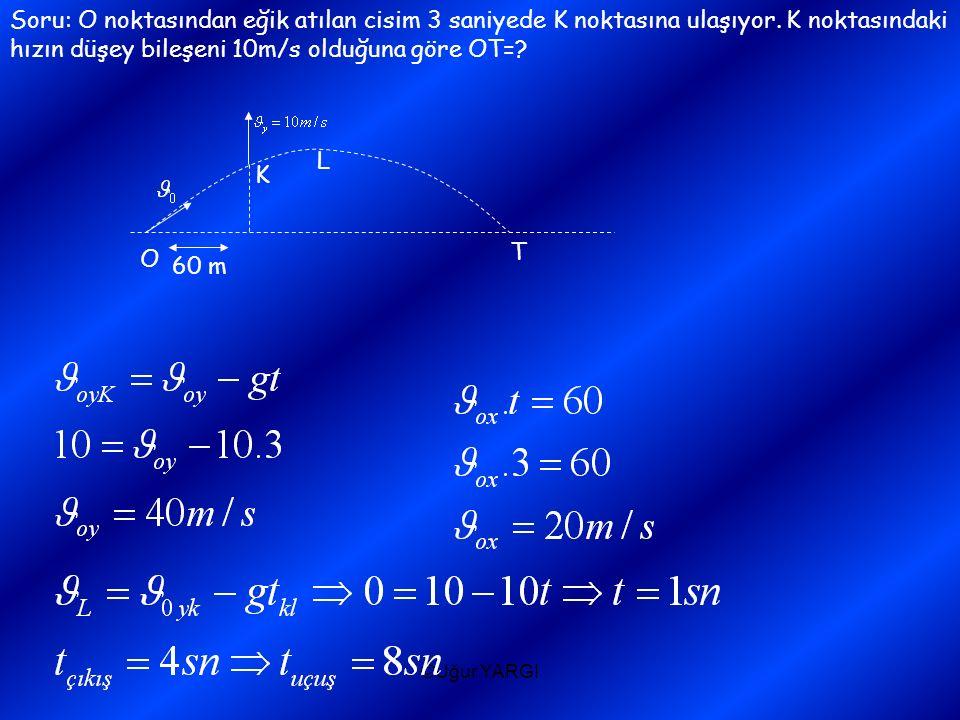 Soru: O noktasından eğik atılan cisim 3 saniyede K noktasına ulaşıyor. K noktasındaki hızın düşey bileşeni 10m/s olduğuna göre OT=? O T 60 m K L