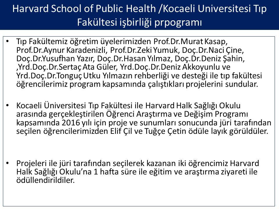 Tıp Fakültemiz öğretim üyelerimizden Prof.Dr.Murat Kasap, Prof.Dr.Aynur Karadenizli, Prof.Dr.Zeki Yumuk, Doç.Dr.Naci Çine, Doç.Dr.Yusufhan Yazır, Doç.Dr.Hasan Yılmaz, Doç.Dr.Deniz Şahin,,Yrd.Doç.Dr.Sertaç Ata Güler, Yrd.Doç.Dr.Deniz Akkoyunlu ve Yrd.Doç.Dr.Tonguç Utku Yılmazın rehberliği ve desteği ile tıp fakültesi öğrencilerimiz program kapsamında çalıştıkları projelerini sundular.