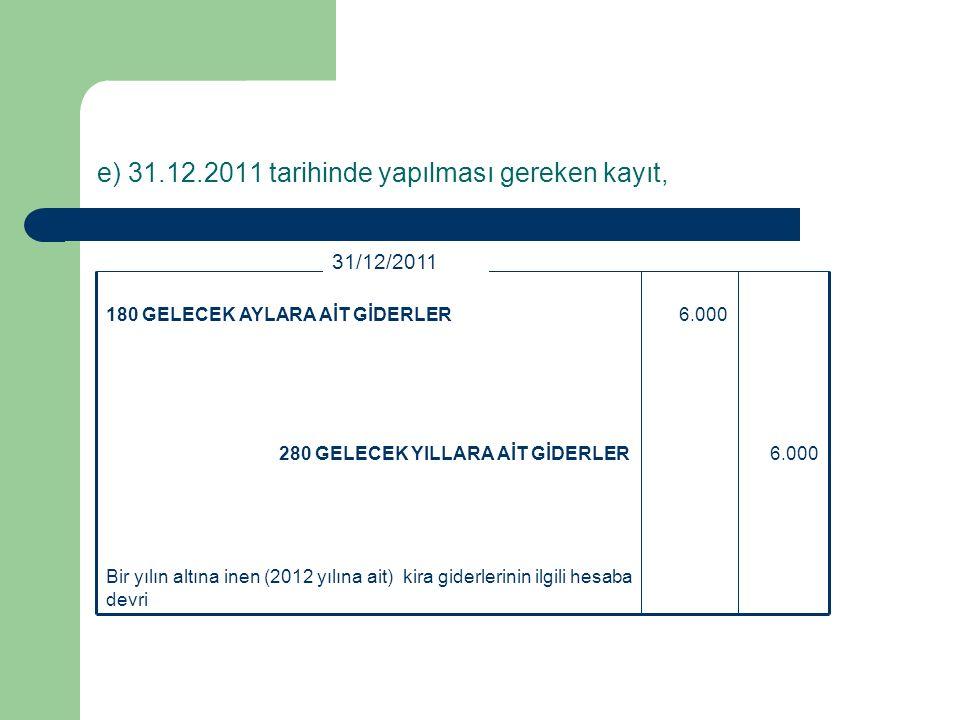 d) 01.01.2011 tarihinde yapılması gereken kayıt (01.02., 01.03., 01.04., 01.05., 01.06., 01.07., 01.08., 01.09., 01.10., 01.11., 01.12.2011 tarihlerinde yapılması gereken kayıtlar) 2.000180 GELECEK AYLARA AİT GİDERLER 2.000770 GENEL YÖNETİM GİDERLERİ - Ocak Ayı Kira Gideri 01/01/2011 Ocak ayı kirasının gider yazılması 01.02., 01.03., 01.04., 01.05., 01.06., 01.07., 01.08., 01.09., 01.10., 01.11., 01.12.2011 tarihlerinde d şıkkındaki yevmiye kaydı aynen tekrarlanır.