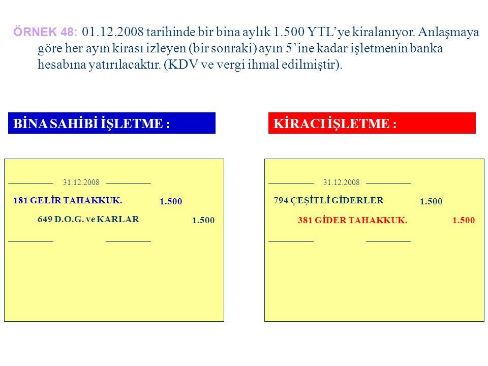 ÖRNEK 48: 01.12.2008 tarihinde bir bina aylık 1.500 TL'ye kiralanıyor.