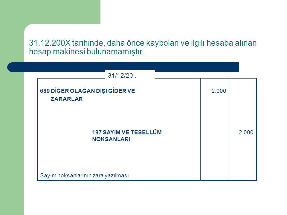 Sayım ve Tesellüm Farklarının Belirlenmesi 20.09.200X tarihinde, Acar İşletmesinin maddi duran varlıklarının sayımı sonucunda işletmenin sahip olduğu ve demirbaşlar hesabına kaydettiği 2.000-TL değerindeki bir bilgisayarın kaybolduğu tespit edilmiştir.