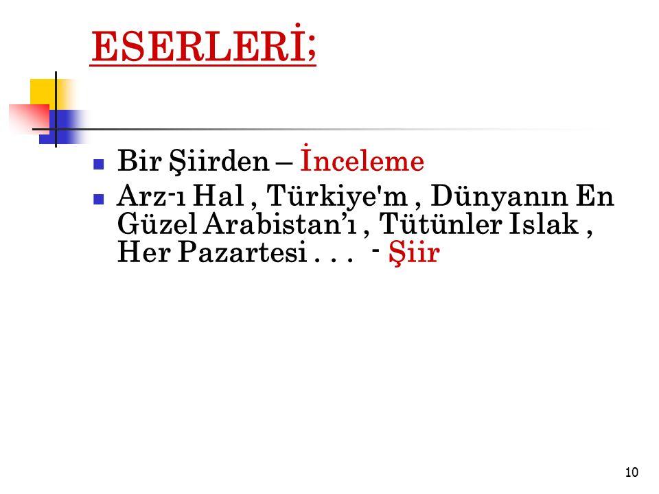 ESERLERİ; Bir Şiirden – İnceleme Arz-ı Hal, Türkiye m, Dünyanın En Güzel Arabistan'ı, Tütünler Islak, Her Pazartesi...