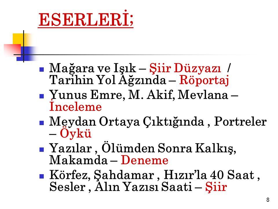 ESERLERİ; Mağara ve Işık – Şiir Düzyazı / Tarihin Yol Ağzında – Röportaj Yunus Emre, M.