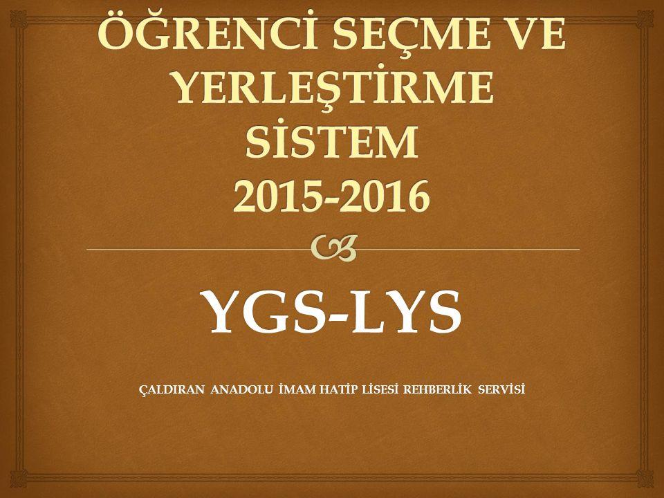 YGS-LYS ÇALDIRAN ANADOLU İMAM HATİP LİSESİ REHBERLİK SERVİSİ