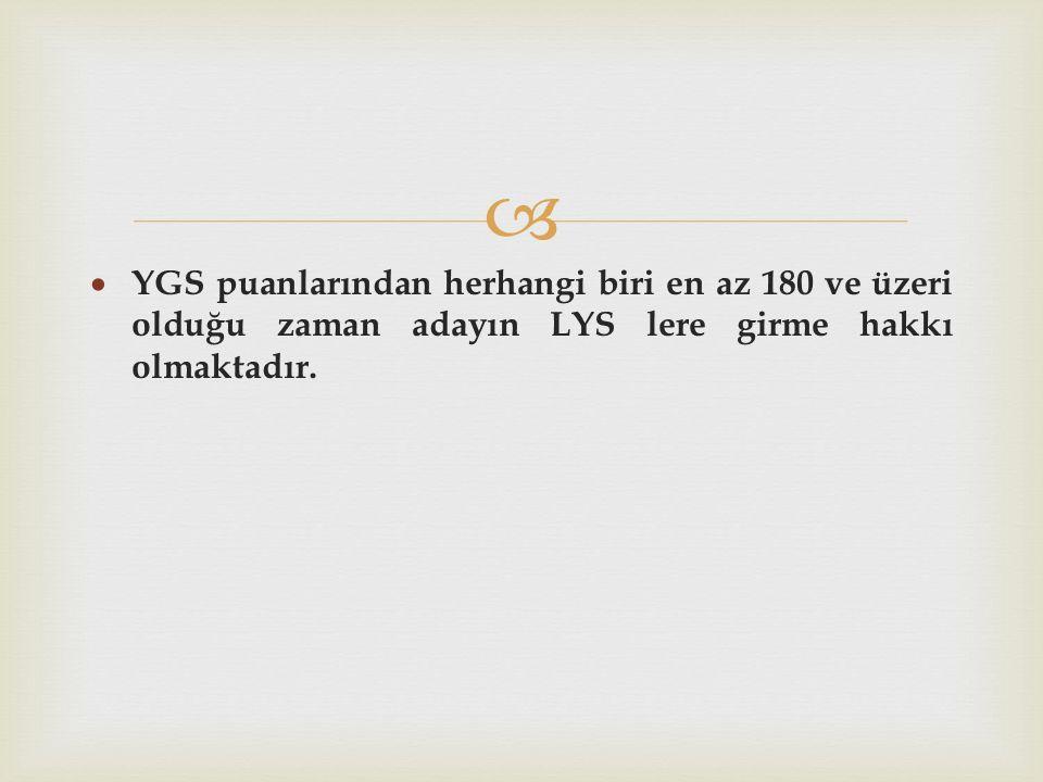   YGS puanlarından herhangi biri en az 180 ve üzeri olduğu zaman adayın LYS lere girme hakkı olmaktadır.