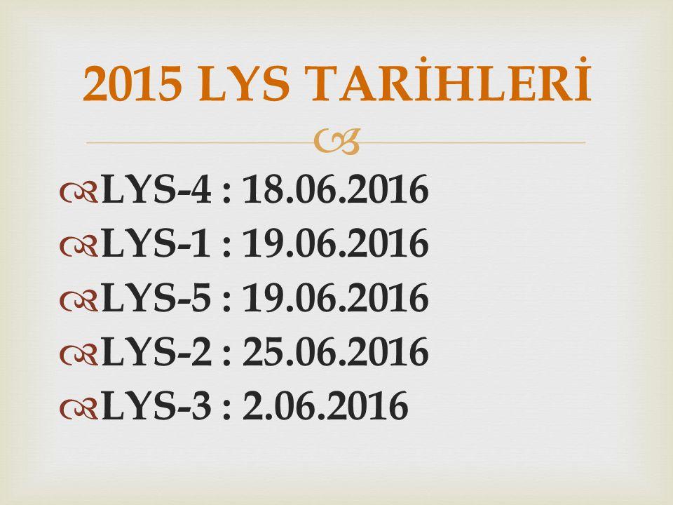   LYS-4 : 18.06.2016  LYS-1 : 19.06.2016  LYS-5 : 19.06.2016  LYS-2 : 25.06.2016  LYS-3 : 2.06.2016 2015 LYS TARİHLERİ
