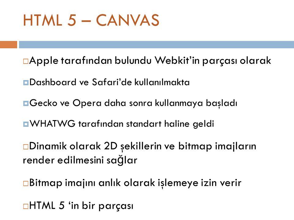 HTML 5 – CANVAS  Apple tarafından bulundu Webkit'in parçası olarak  Dashboard ve Safari'de kullanılmakta  Gecko ve Opera daha sonra kullanmaya başladı  WHATWG tarafından standart haline geldi  Dinamik olarak 2D şekillerin ve bitmap imajların render edilmesini sa ğ lar  Bitmap imajını anlık olarak işlemeye izin verir  HTML 5 'in bir parçası