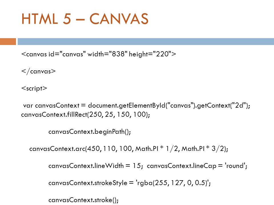 HTML 5 – CANVAS var canvasContext = document.getElementById(