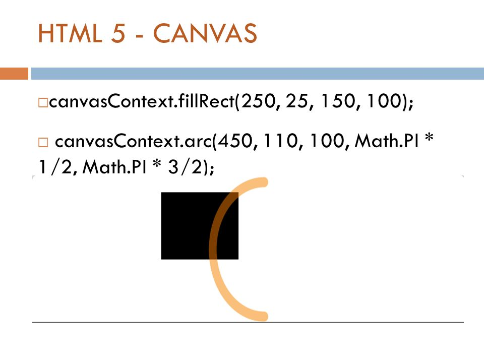 HTML 5 - CANVAS  canvasContext.fillRect(250, 25, 150, 100);  canvasContext.arc(450, 110, 100, Math.PI * 1/2, Math.PI * 3/2);